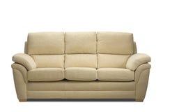 Seater del sofà tre su bianco Immagine Stock Libera da Diritti