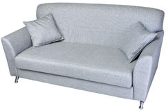 2 seater modern sofa in light grey fabric, on whaite. Two seater fabric sofa light grey color with metal legs and two cushions, isolated on white background stock photos