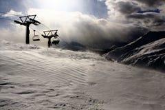 seatersilhouette för chairlift fyra Royaltyfria Foton