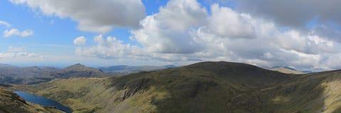 Seathwaite Tarn panorama Royaltyfria Bilder