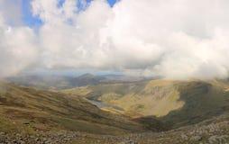 Seathwaite Tarn panorama Fotografering för Bildbyråer