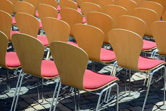 Seating. Many chairs for open air event Stock Photo