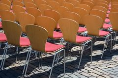 Seating. Many chairs for open air event Royalty Free Stock Photos