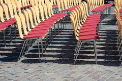 Seating. Many chairs for open air event Royalty Free Stock Photography
