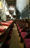 Choir stalls. Seating area for the choir in a cathedral in oxford Stock Image