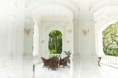 Seating area in the Raffles Hotel, Singapore. Shady conversation pit in the Raffles Hotel Singapore Stock Photos