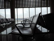 Seating arrangement at Chhatrapati Shivaji Maharaj International Airport, Mumbai, India. Chhatrapati Shivaji Maharaj International Airport, Mumbai, India stock photos