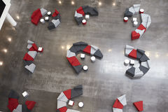 Seating in the atrium of modern university building, aerial Royalty Free Stock Images