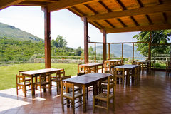 Seating bench on terrace. Seating bench on a terrace of a restaurant in Italy's Aurunci mountains Stock Images