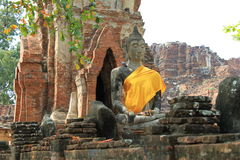 Seating Buddha image. In Ayutthaya, Thailand royalty free stock photos
