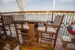 Seating on the sundeck of a river cruise boat stock photography