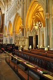 Seating for the Choir. The Choir Stalls inside Wells Cathedral in Somerset, England stock image