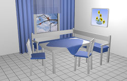 Seating corner for the kitchen in blue and white. With murals and window with curtains. 3d rendering royalty free illustration