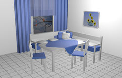Seating corner for the kitchen. In blue and white with pillows, murals and windows with curtains. 3d rendering stock illustration