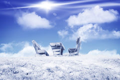 Seating Group with table and benches in winter Royalty Free Stock Image