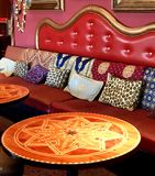Seating at a hookah lounge stock photo