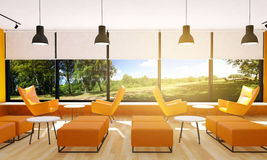 Seating in modern restaurant interior. 3D rendering stock photography