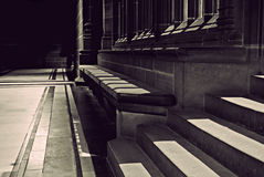 Seating in old sandstone cathedral Royalty Free Stock Photography