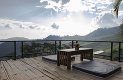 Seating overlooking the mountain on bamboo Stock Photography