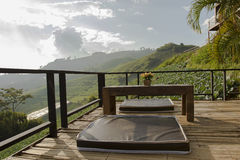 Seating overlooking the mountain on bamboo Royalty Free Stock Photos