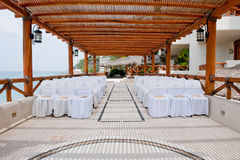 Seating at resort wedding Stock Photography