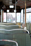 Seating rows in old tram Royalty Free Stock Images