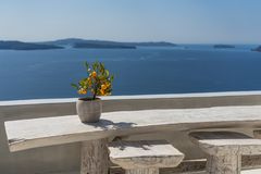 Seating with vew. Seating at balcony in Oia in Santorini with great view royalty free stock images
