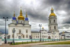 Seating yard Tobolsk Kremlin and Sophia-Assumption Cathedral pan Royalty Free Stock Photos