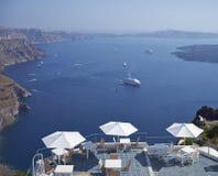 Seatings facing Aegean Sea Royalty Free Stock Image