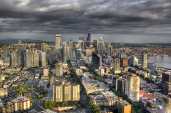 Seatle Skyline with Clouds Stock Photo