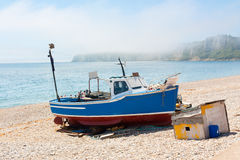 Seaton Beach. Boast moored on the beach at Seaton Devon England UK Stock Images