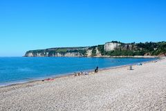 Seaton beach and cliffs. Stock Image