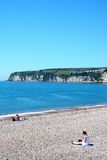 Seaton beach and cliffs. Royalty Free Stock Images