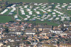 Seaton. Caravan park on the hill above town of Seaton in Devon Royalty Free Stock Photo