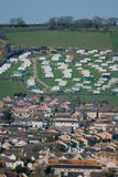 Seaton. Caravan park on the hill above town of Seaton in Devon Royalty Free Stock Photos