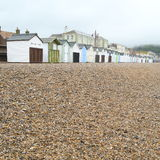 Seaton. Gravel with beach huts on Jurassic Coast  in Seaton, Devon Stock Photos