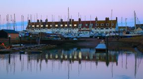 Seaton harbour in Devon at dawn. River Axe estuary on the Jurassic Coast Royalty Free Stock Image