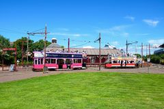 Seaton tram station. View of Seaton Electric Tramway Trams outside the tram station, Seaton, Devon, England, UK, Western Europe stock photography