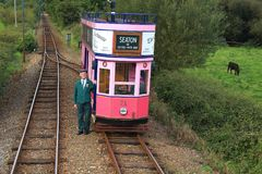 Seaton Tramway. Operates narrow gauge heritage trams between Seaton, Colyford and Colyton in East Devon`s glorious Axe Valley, travelling alongside the River Stock Image