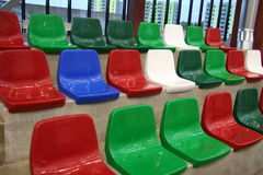 Seats. New empty colorful stadium seats Royalty Free Stock Photo