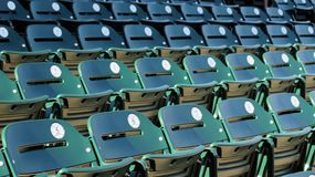 Seats. A row of seats in a baseball stadium before the fans arrive Stock Photos