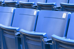 Seats. Closeup of blue, plastic stadium seats Royalty Free Stock Photo