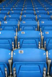 Seats. Empty blue and red stadium seats royalty free stock photo
