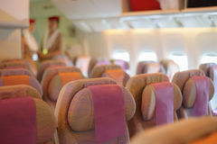 Seats in airplane cabin Royalty Free Stock Image