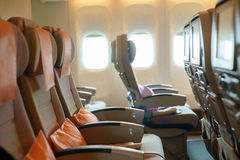 Seats in airplane cabin Royalty Free Stock Images