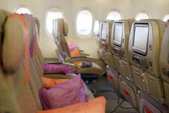 Seats in airplane cabin Stock Image