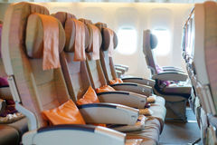 Seats in airplane cabin Royalty Free Stock Photography