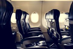 Seats in the airplane interior Royalty Free Stock Images