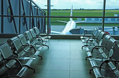 Seats in airport hall Stock Images