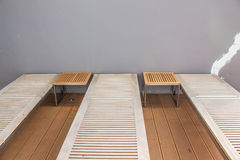 Seats along the pool. Stock Photo